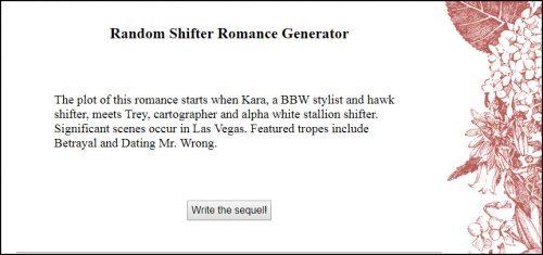Random Shifter Romance Story Generator | Augusta Scarlett