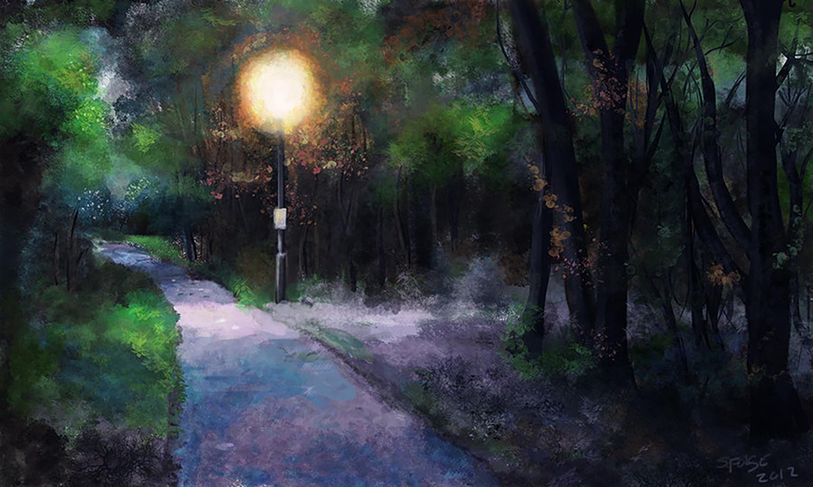 Cardiff Park digital painting