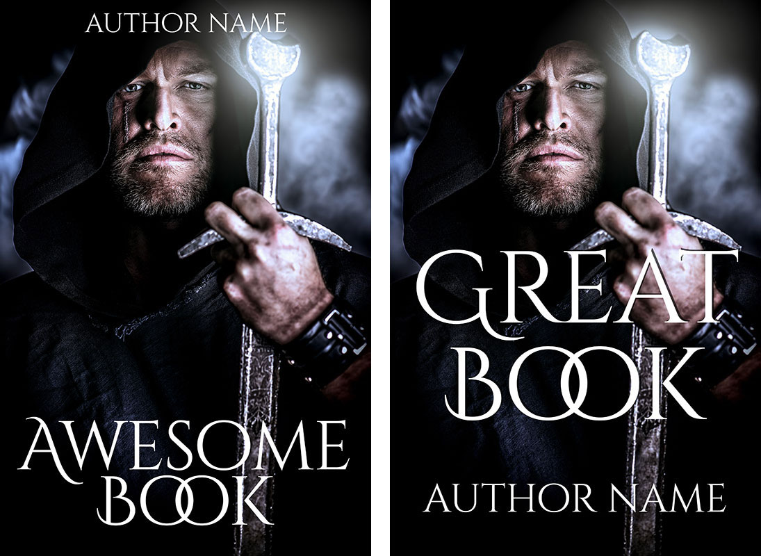 Mockups of a self-published cover and a traditionally published cover.
