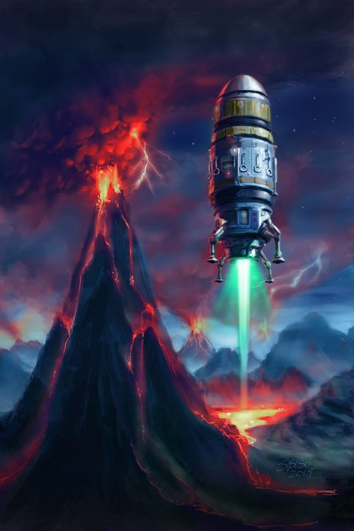 Cover of Firejammer: a blunt-nosed shuttle descends onto an alien planet at night. Volcanoes are erupting in the background.