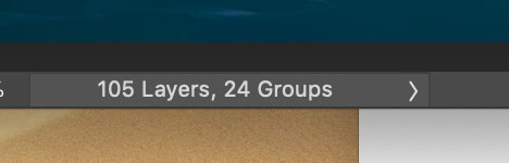 "Screenshot of the Photoshop label reading ""105 Layers, 24 Groups."""