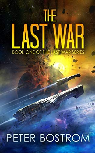 The Last War by Peter Bostrom. Several spaceships fly by an exploding planet.