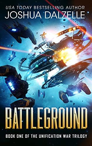 Battleground, by Joshua Dalzelle. Smaller spaceships surround and exploding space station.