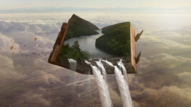 Digital illustration created by photomontage, which shows an open book floating over a landscape. The book's pages show a river, which is pouring out of the book in a waterfall.