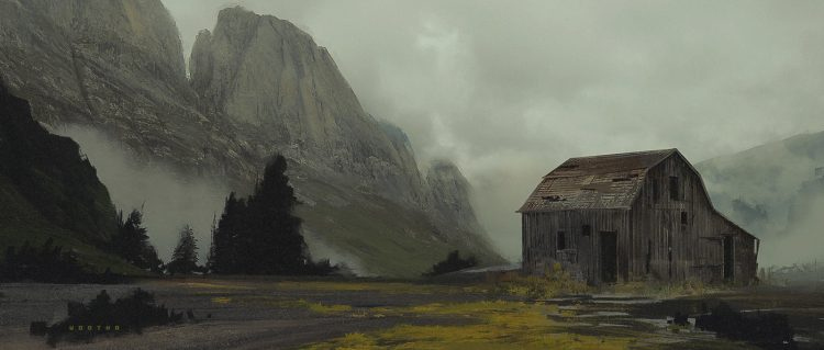 Digital illustration created by photobashing of a cabin in a valley, with atmospheric clouds.