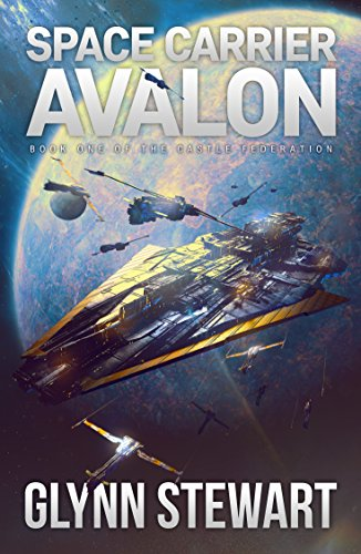 Space Carrier Avalon by Glynn Stewart. A large triangular ship surrounded by smaller spaceships hangs in space above a planet.
