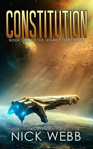 Constitution by Nick Webb. A spaceship hovers above a planet's surface, illuminated by dusty light filtering through an asteroid field.