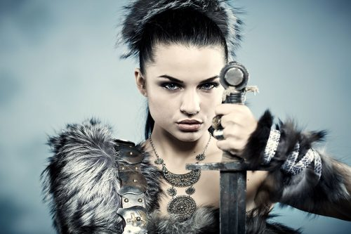 Fantasy stock photo of a woman warrior with a sword