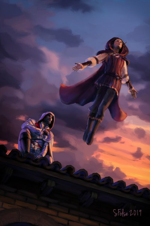 Claudia Auditore performing a leap of faith off a rooftop as Ezio watches.