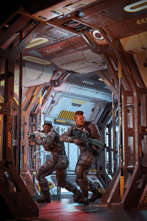 Military science fiction cover with two troops advnacing through a space station, ship or other fcility